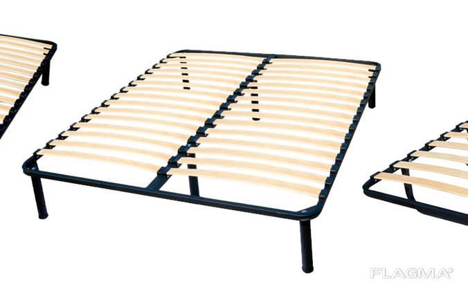 Metal bed frames with orthopedic base from beech lamellas