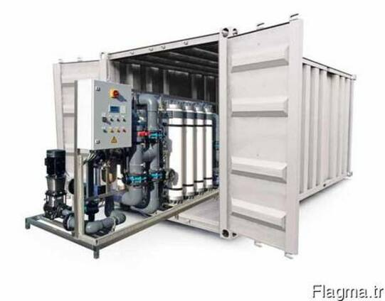 Modular water treatment systems in containers